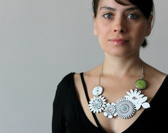 Silver and White Flower Necklace with Green Gemstone