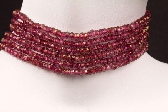 """Pink Quartz Rondelles -Mystic Pink Quartz, Deep Rose Pink, Rondels, Roundels - Full 13"""" Strand"""