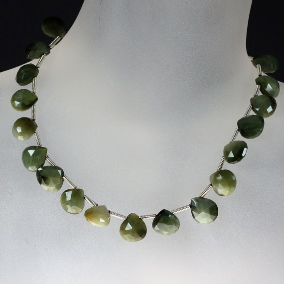 Sillimanite Briolettes, Heart Briolettes, Faceted Hearts, Sage Green, Silvery Green - 3 Beads - Discounted