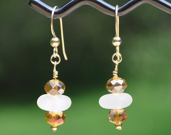 Sea Glass Jewlery Beach Earrings in White with Golden Crystals 14K Gold Filled 2007