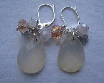Faceted pale yellow earrings