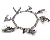 Vintage STERLING SILVER 1950s Swimming, Water, Surfing, Scuba Diving Theme Charm Bracelet