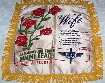 Vintage 1940s WWII era Satin & Velveteen Souvenir US Army Air Force Miami Beach, Florida Pillow Case Cover with Fringe Unused