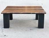 Walnut Steel Coffee Table - Custom Furniture - Solid Reclaimed Hardwood - Office Table - Handmade in the USA - Custom Furniture