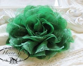 NEW COLOR : 1 pc Large Shabby Chic Frayed Chiffon Mesh and Lace Rose Fabric Flower - Emerald GREEN
