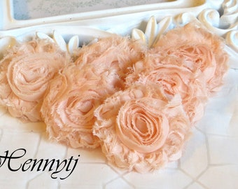New Color: Set of 6 Shabby  Frayed Vintage look Chiffon Rosette Flowers - Light Salmon / Peach