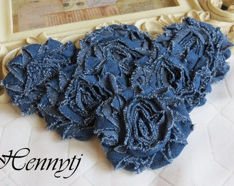 Set of 6 Shabby Frayed Vintage look Rosette Flowers - BLUE Denim JEANS