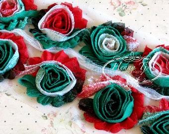 1 one yard Christmas Trim Red Green White Peacock Print 2 1/2 inch chiffon Sheer Shabby Rose Trim, Hair Bow. Chiffon Rossettes