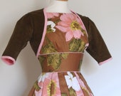 Chocolate Brown and Peachy Pink Bolero Jacket - made by Dig For Victory