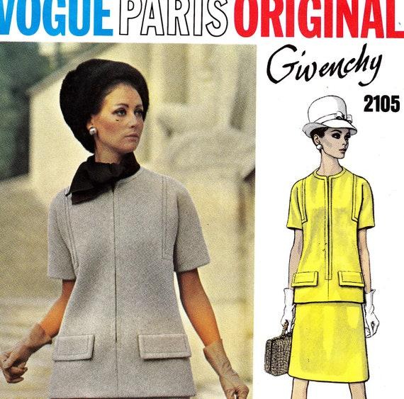 Sz 10 Vintage 60s Vogue Paris Original Sewing Pattern 2105 Givenchy Skirt and Top Bust 32 1/2 UNCUT FF