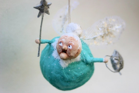 Ooak Spun Cotton Fairy Godmother Ornament