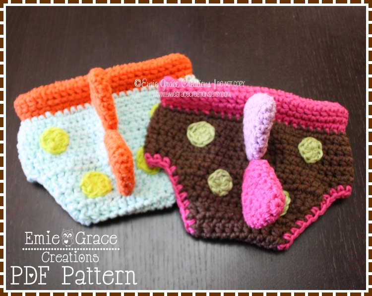Crochet Dinosaur Hat And Diaper Cover Pattern : Dinosaur Diaper Cover Crochet Pattern 3 Sizes Newborn to 6-12