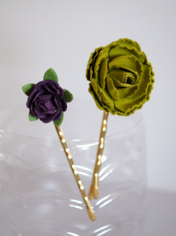 Bobby pins hair accessories - Purple and Green paper flowers