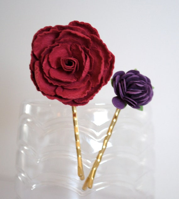 Bobby pins hair accessories - Purple and Pink paper flowers