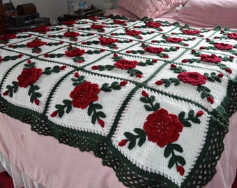 Dark Red Wild Roses Afghan Blanket Throw Floral Crocheted - Made fresh after sale - 25 squares