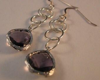 Silver Gemstone earrings,dangle earrings,drop earrings,cainmaille earrings gemstone earrings,silver earrings,chain maille earrings,earrings