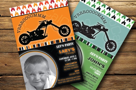 Motorcycle Themed, Photo Birthday Party Invitation, Digital or Printed