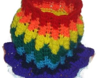 Rainbow scarf, hand knit scarf, womens scarves, cowl scarf, womens scarf, womens gifts for her