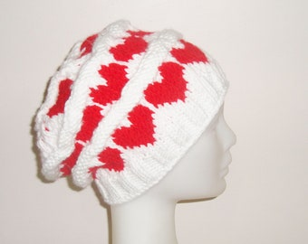 Valentines Day Gift for Women Hand Knitted White Beret Hat With Red Heart White and Red