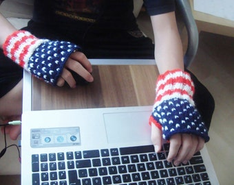 American flag knit fingerless gloves arm warmers for mens gift, dad gift, American gifts, american birthday gifts red white blue