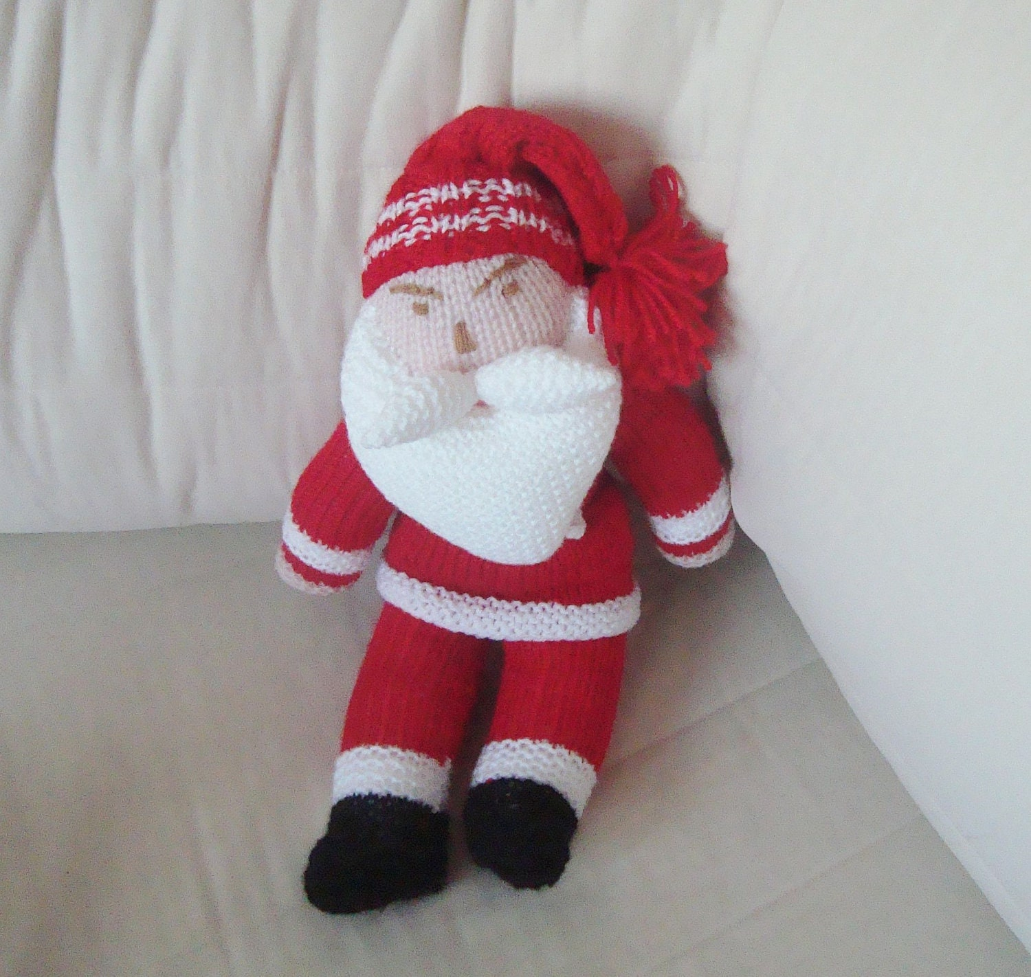 Hand Knitted Toys : Hand knitted toys christmas santa doll by earflaphats
