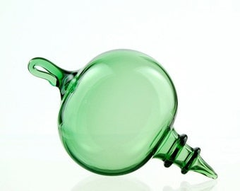 Hand Blown Glass Ornament, Green with Rings