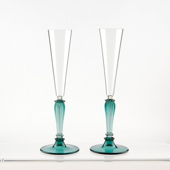 Champagne toasting flutes, Teal and Clear hand blown glasses