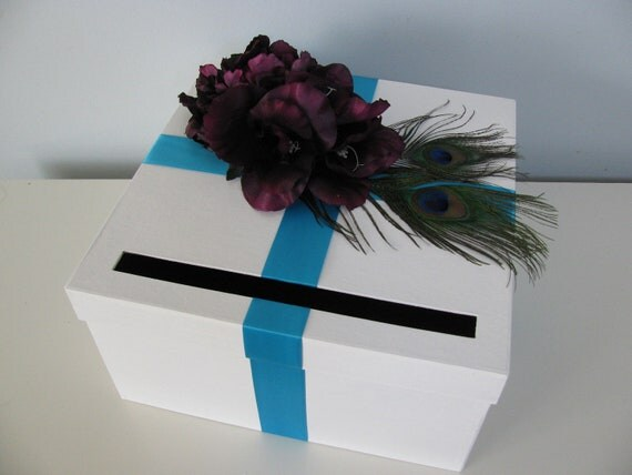 Custom Wedding Card Box Purple, Teal, Aqua and Peacock Feathers YOU CUSTOMIZE Colors and flowers