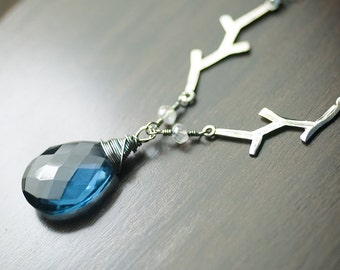 "Deep Blue Quartz Gemstone Sterling Silver Necklace - Midnight Blue, Night, Woodland, Branches, Moonlight, Starlight, Night - ""Starry Night"""