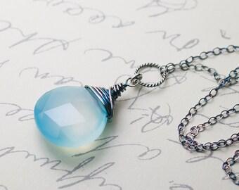 "Light Blue Chalcedony Sterling Silver Wire Wrapped Necklace - Peruvian Blue, Seafoam, Aqua, AAA Grade - ""Sea Mist"" Moss & Mist Jewelry"