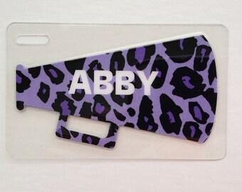 Cheer Luggage Tag Cheetah Print Cheerleading Megaphone Name Tag Personalized Cheer Bag Tag Kids Bag Tag Cheerleading Party Favor Cheer Team