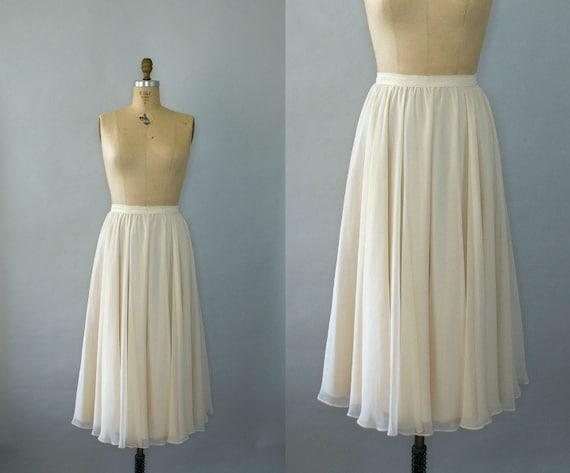 Vintage 1980s Flirty Ivory Chiffon Maxi Skirt - Small
