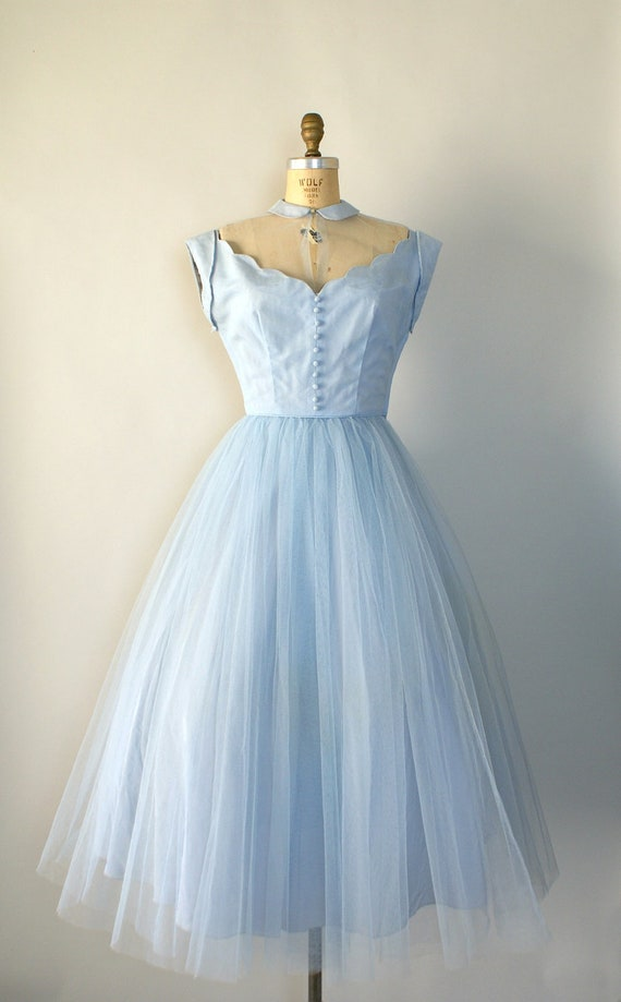 Vintage 1950s Formal Gown - Pale Blue Tulle Party Dress - Dancing on Air