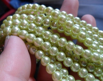 Clearance Baby Lime Glass Pearls 6mm Round Full Strand (babylime6)