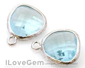 SALE 20% off // 10pcs of P1750 Rhodium plated, Aquamarine, Glass fancy rosecut 12.5mm, Glass pendant, Framed glass