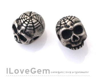 NP-1361 Silver Burnish over Brass, Skull, Beads, 2pcs