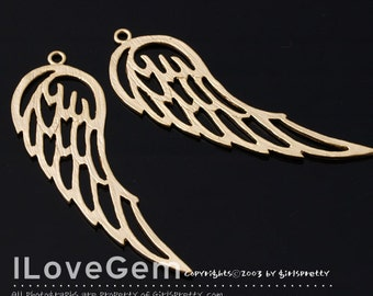 NP-1431 Matt Gold plated, Wing, Pendant, 2pcs
