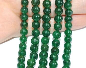 Round Beads Emerald Green Aventurine 5-6 mm - 13''STRAND - 121108-04