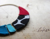 Bib Collar, Red, Blue, Black, White Bubble Choker, Fabric Geometric Necklace, Bunting Necklace, Chunky Jewelry, Statement Necklace, Moonbeam