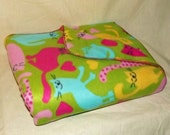 Possum Pouch Fleece Blanket with a Foot and Leg Pouch featuring a Colorful Cats Motif (regular size)