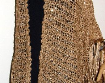 Gold Sequin  wedding Shawl triangle shawl Wrap Hand Crocheted Triangle Gold Silk Blend Yarn