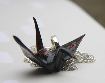Origami Tsuru Crane Pendant Large - Black with Red Dragonflys