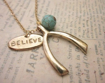 Wishbone Necklace, Believe Necklace, Friendship Necklace, Gift Idea, Handmade Necklace, Bridesmaid Gift, Best Friend Gift, Charm Necklace
