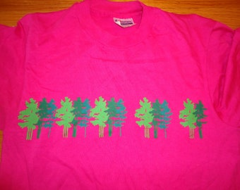 vintage tshirt TaNGLEWOOD TREELINE trees evergreen paper thin soft MEDIUM nature