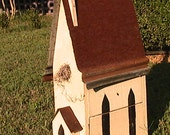 """Handmade Cathedral Birdhouse-31"""" Tall"""