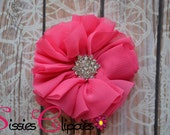 Hot Pink Ballerina Flower with Rhinestone Center Hair Clip - Hair Barrette - Vintage Hair Clip