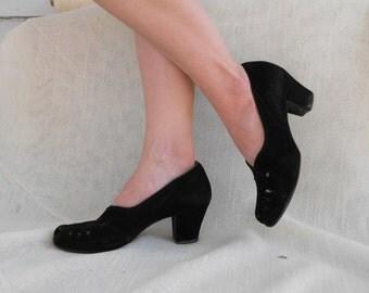 Vintage 40s Shoes Heels Peeptoe Black Suede Leather Selby Styl Eez 6 1/2