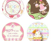 Birthday Girl Bottle Cap Image Set - One Inch Round Circle Digital Image Collage Sheet for Pendant Jewelry, Hairbows, and more