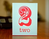 SALE - Number Two (2) Card for Birthday or Anniversary - 100% Recycled Paper - MANvsGEORGE