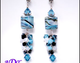 Moonlit Ocean.. Lampwork Earrings in Turquoise and Black